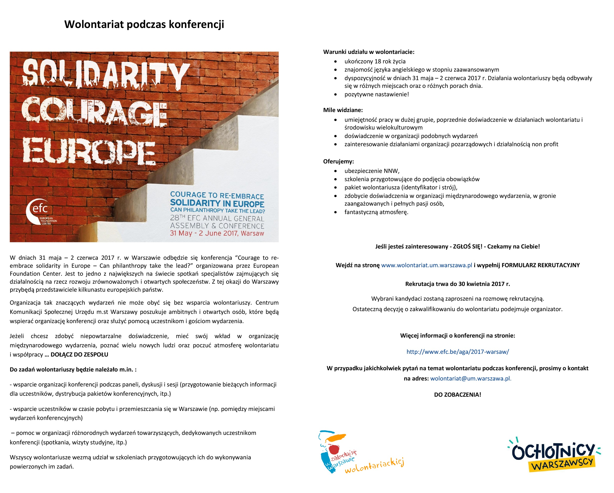 "Wolontariat podczas międzynarodowej konferencji ""Courage to re-embrace solidarity in Europe – Can philanthropy take the lead?"""