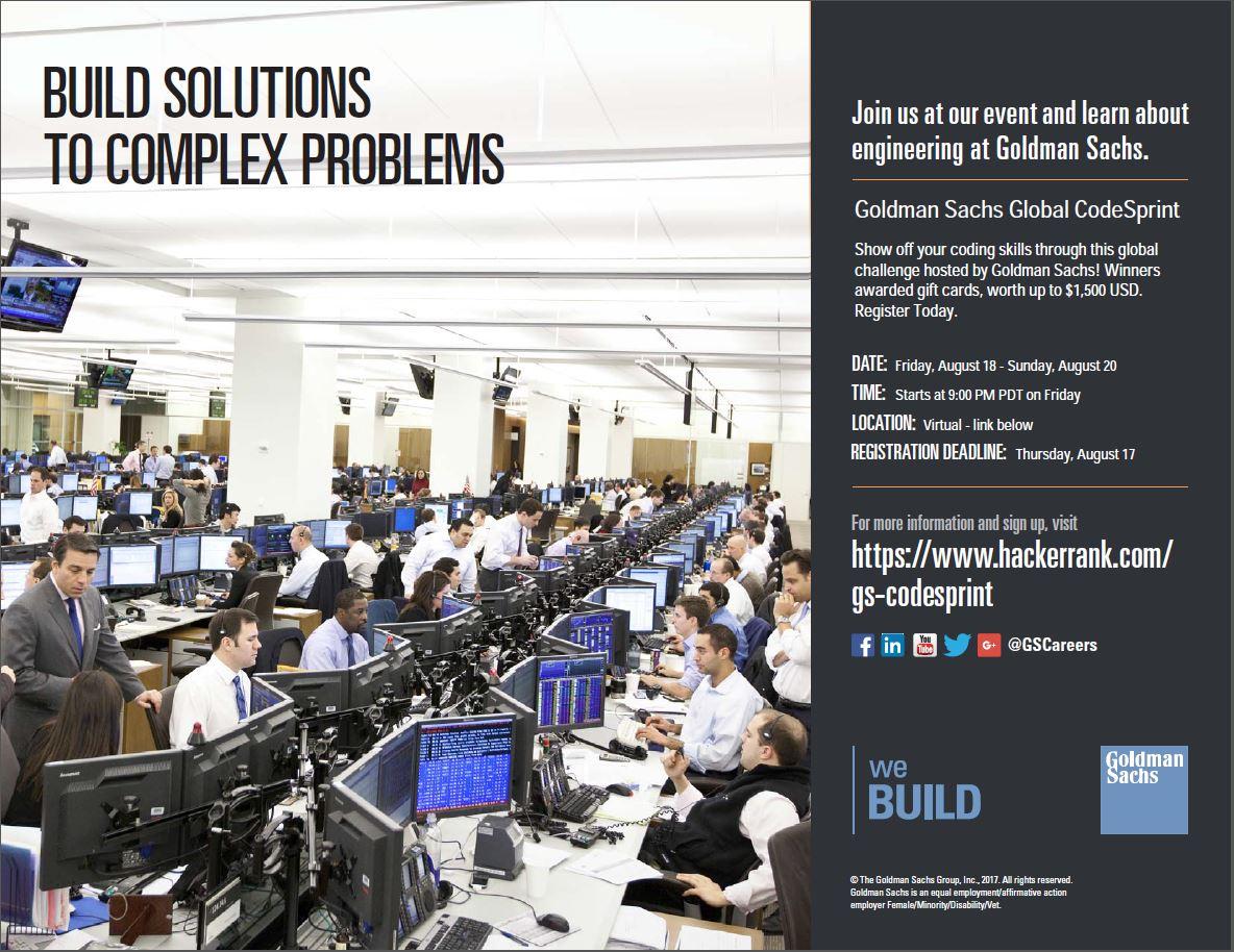 SIGN UP TODAY - Goldman Sachs Global CodeSprint