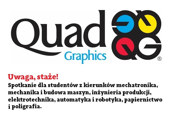 Spotkanie z firmą Quad Graphics Europe dla kierunków mechatronika, mechanika i budowa maszyn, inżynieria produkcji, elektrotechnika, automatyka i robotyka