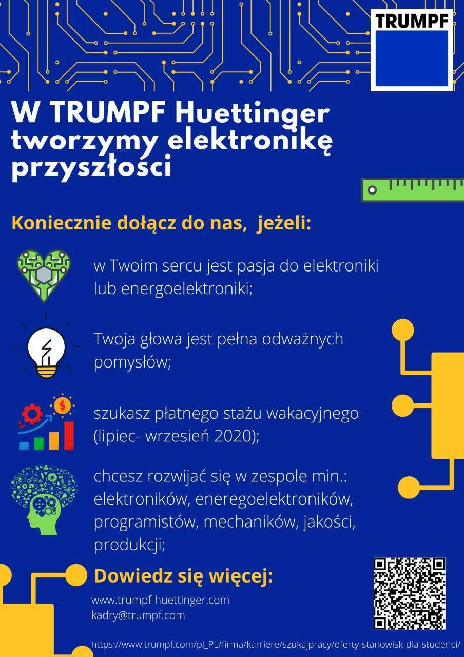 Aplikuj na staż w TRUMPF Huettinger