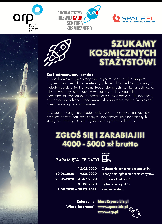 V edycja Konkursu o Staż – Rozwój Kadr sektora kosmicznego