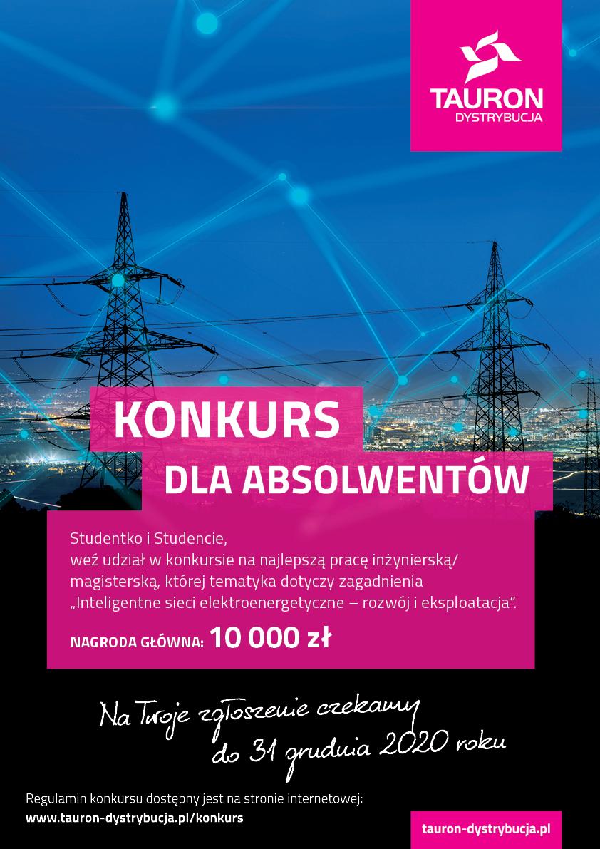 """Konkurs na pracę dyplomową """"Inteligentne sieci elektroenergetyczne – rozwój i eksploatacja""""."""