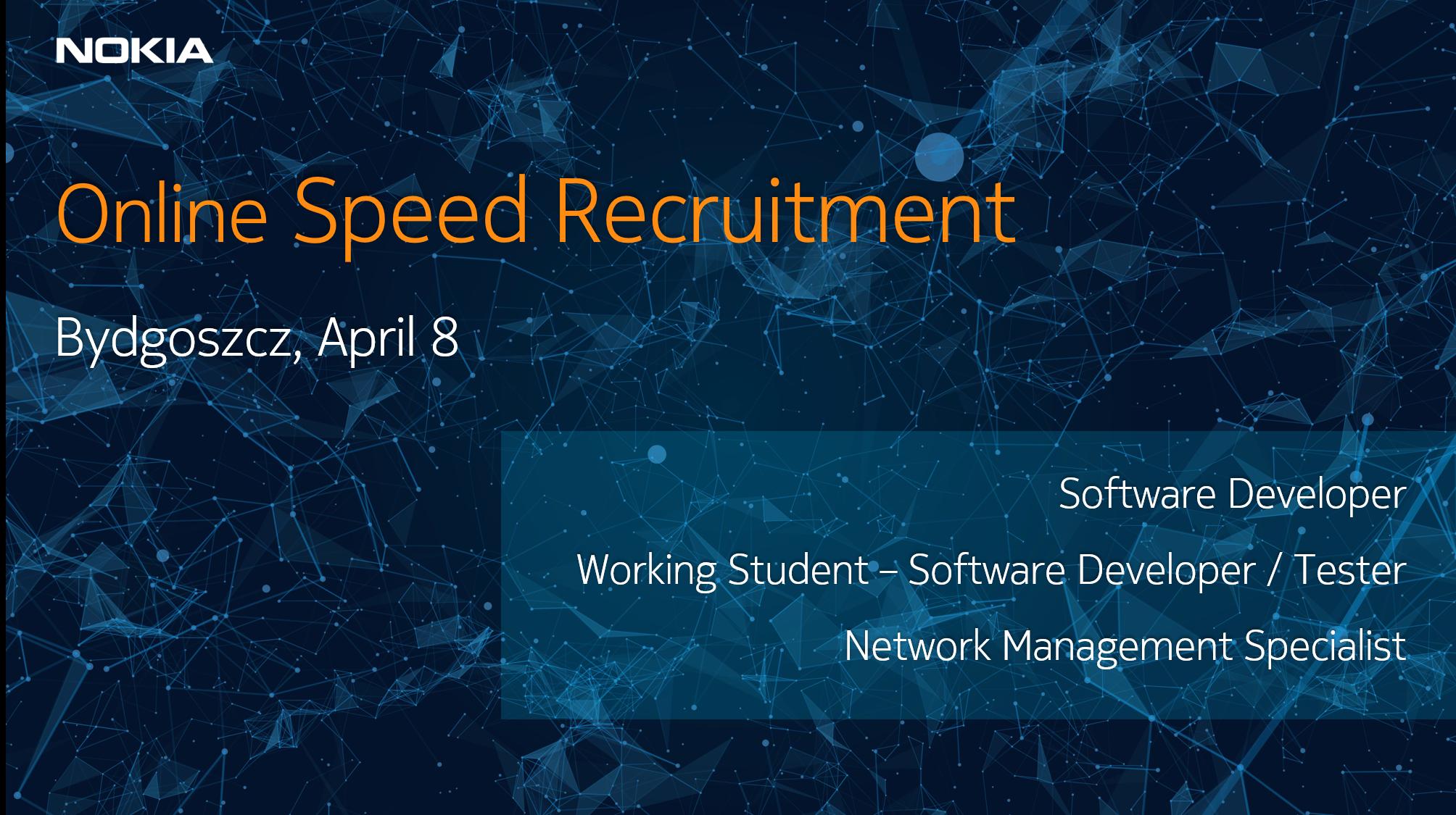 Zapraszamy na wydarzenie on-line organizowane przez firmę NOKIA – speed recruitment.